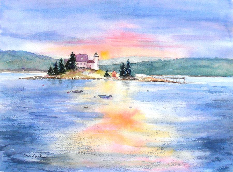 Maine Painting - Pumpkin Sunset by Diane Kirk