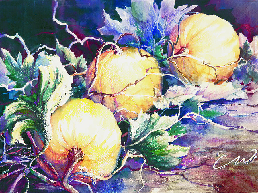 Pumpkins Painting - Pumpkin Time by Connie Williams