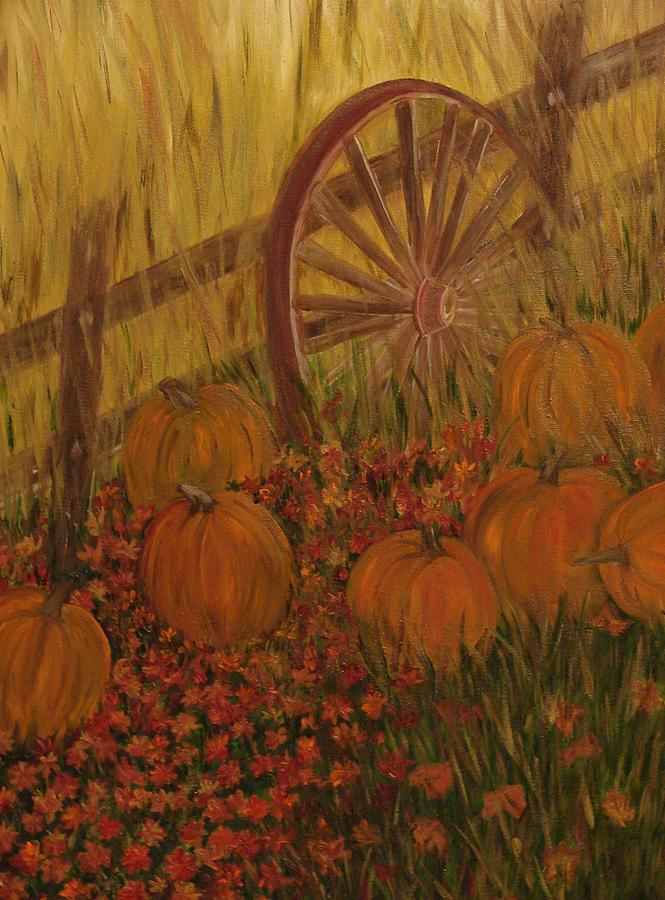 Landscape Painting - Pumpkin Wheel by Shiana Canatella