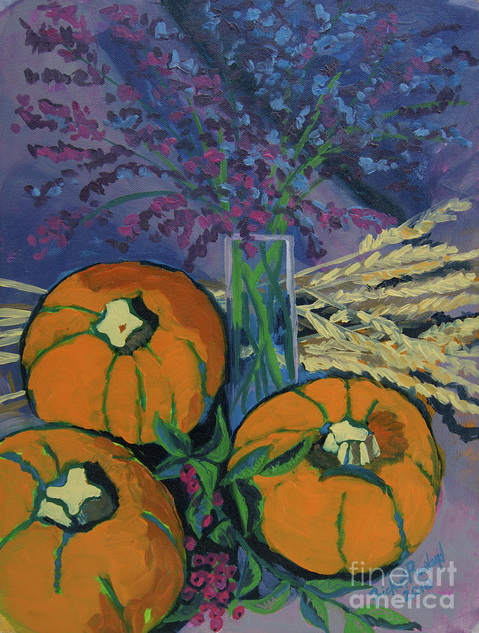 Pumpkin Painting - Pumpkins And Wheat by Erin Fickert-Rowland