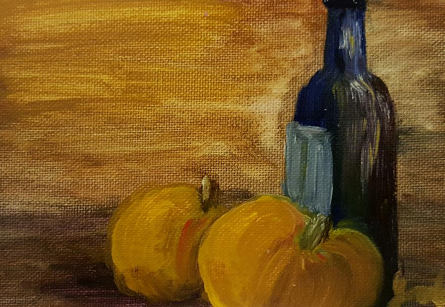 Still Life Painting - Pumpkins And Wine  by Steve Jorde