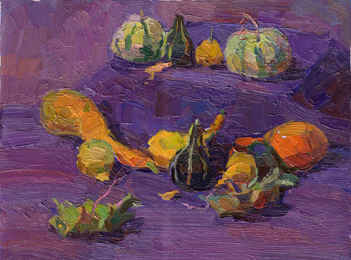 Pumpkin Painting - Pumpkins by Gregory Gamaley