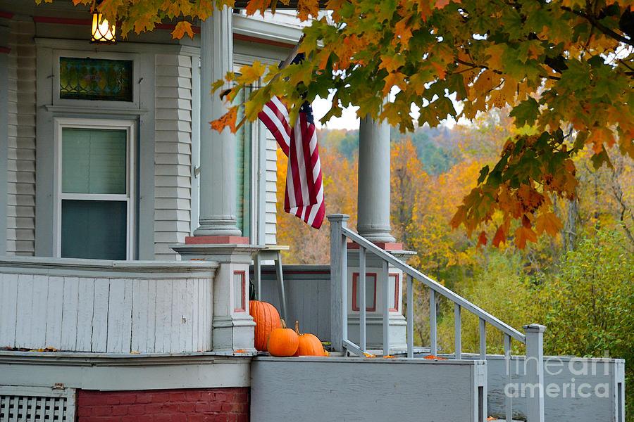 Pumpkins Photograph - Pumpkins On A Vermont Porch by Catherine Sherman