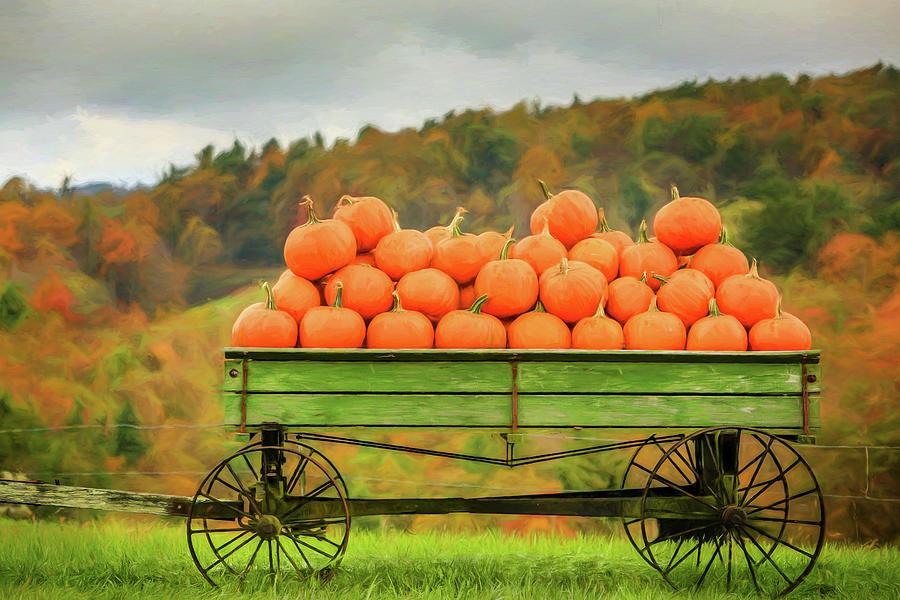 pumpkins on a wagon by Jaki Miller