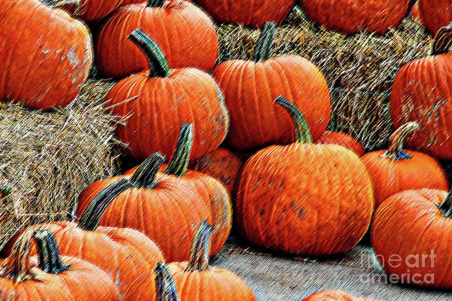 Pumpkins Stacked Mixed Media