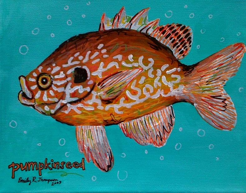 Pumpkinseed Painting by Emily Reynolds Thompson