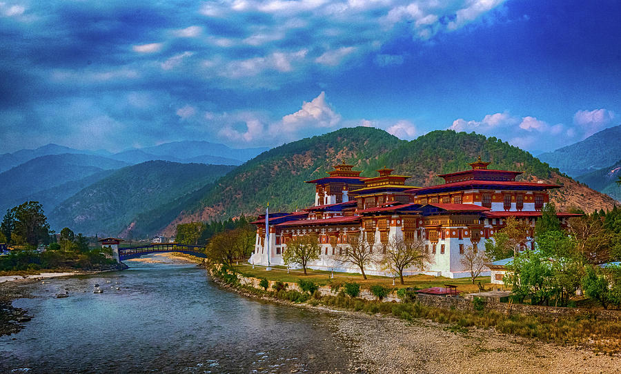 Architecture Photograph - Punakha Dzong by Pravine Chester
