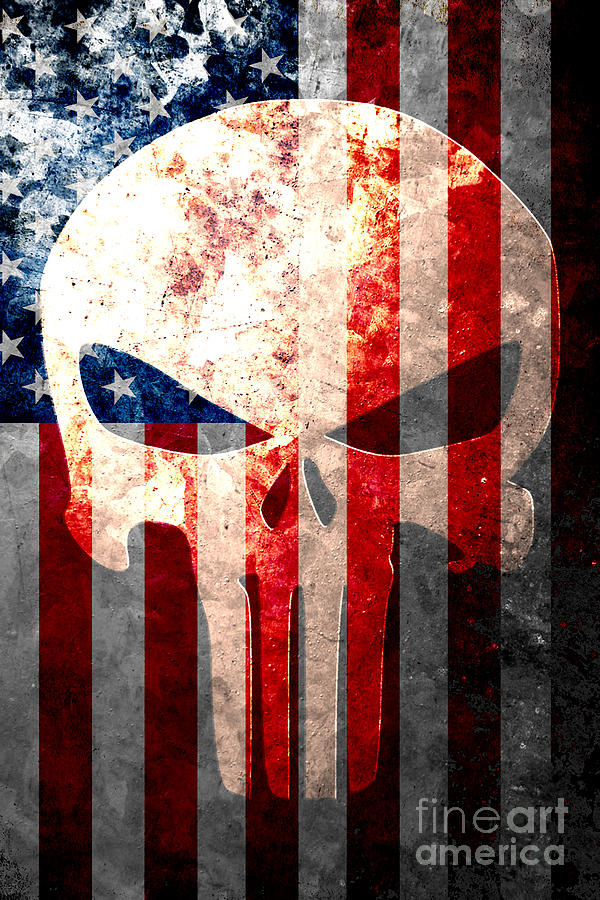 Punisher Themed Skull And American Flag On Distressed