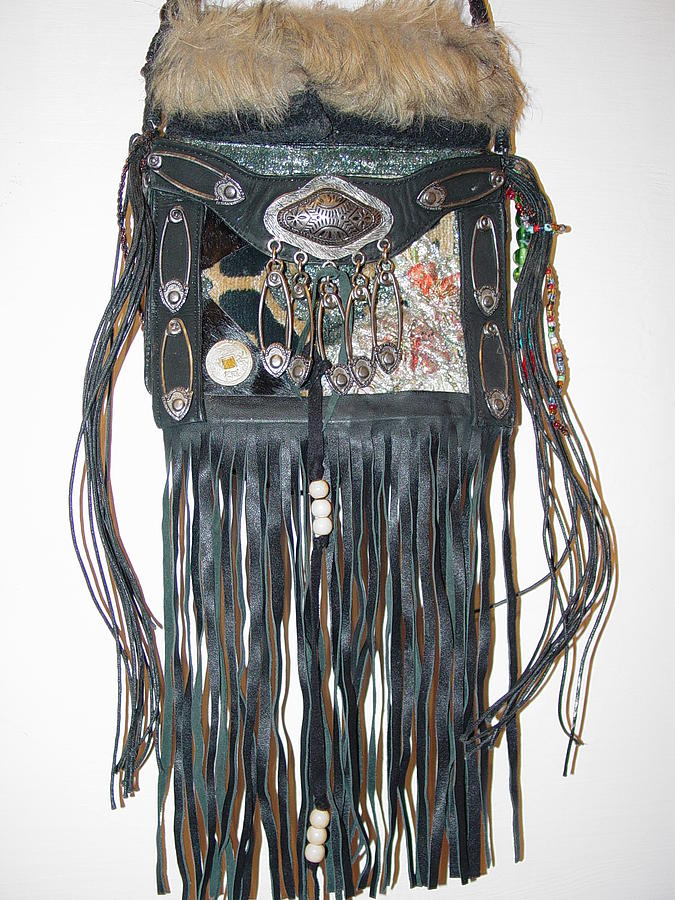 Recycled Mixed Media - Punk Biker Purse Closer Up by Lorraine Stone