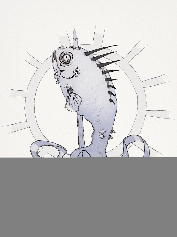 Blue Drawing - Punk Fish by Ethan Harris