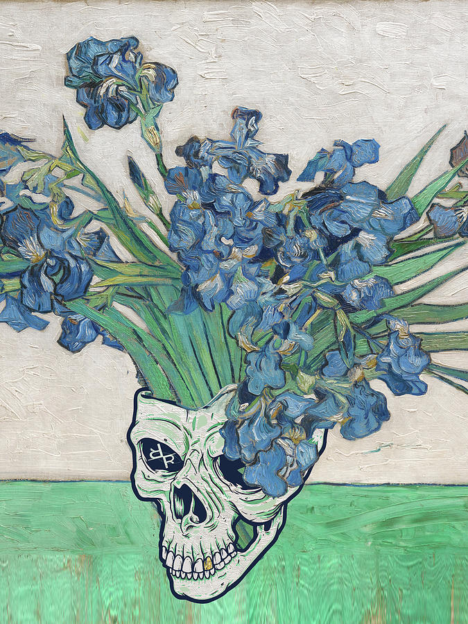 Punk van Gogh Irises Skull by Tony Rubino