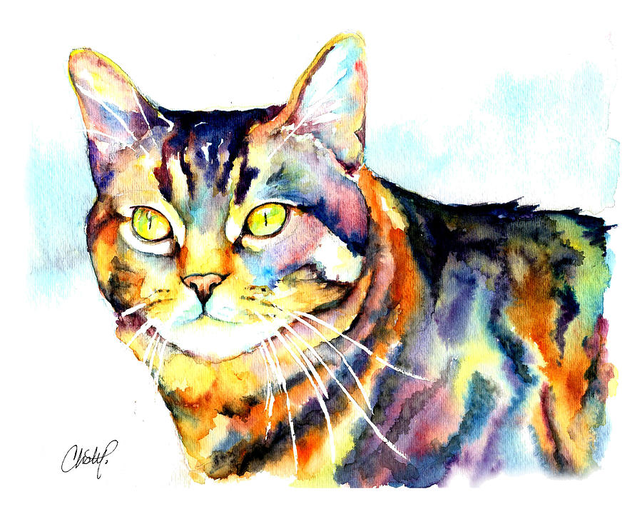 Tabby Painting - Punky Kitty  by Christy  Freeman