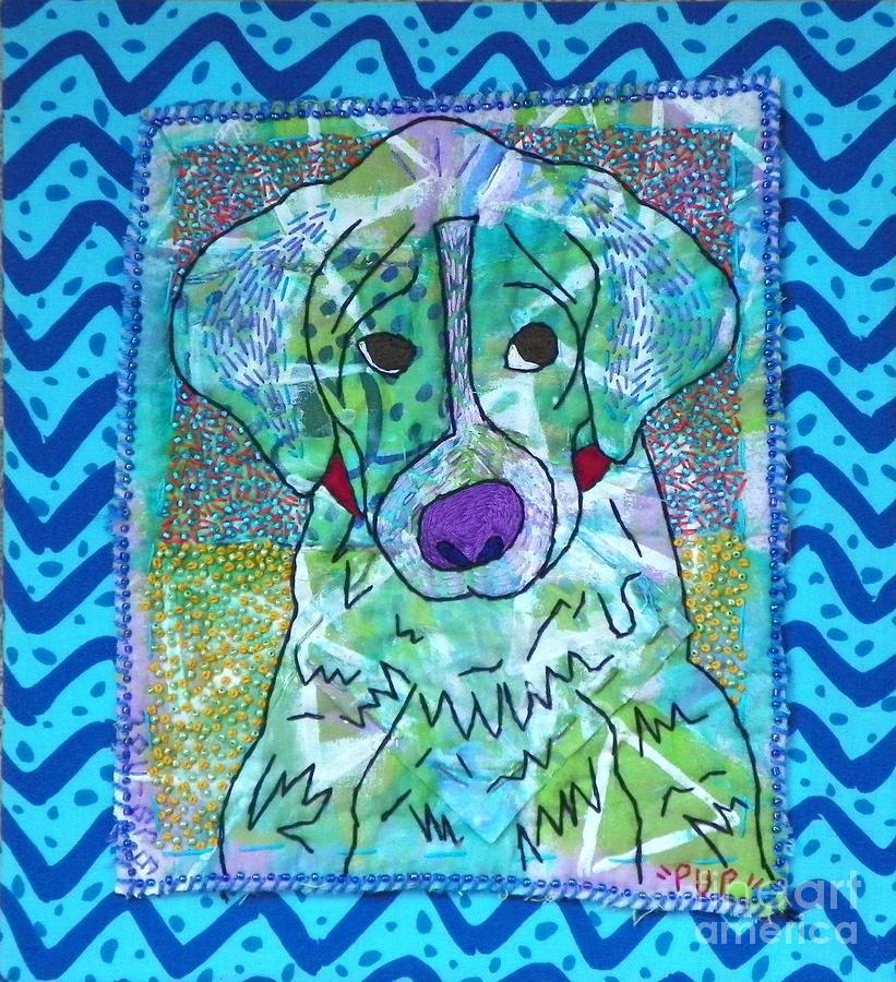 Fiber Mixed Media - Pup by Susan Sorrell