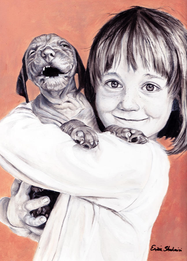 Child Portrait Painting - Puppy Love by Enzie Shahmiri