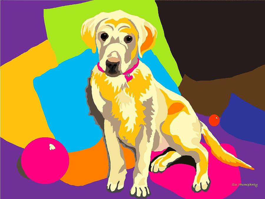 Yellow Lab Digital Art - Puppy Princess And The Pillows by Su Humphrey