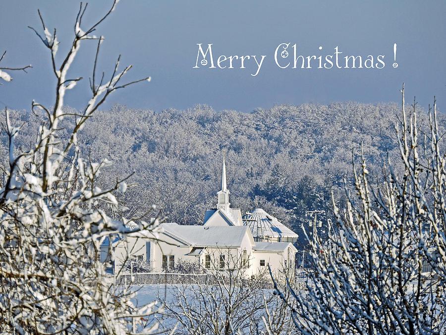 Little White Church Photograph - Pure White Christmas by Regine Brindle