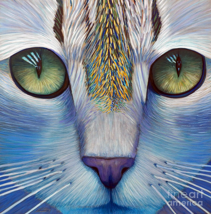 Cat Painting - Purity by Brian  Commerford