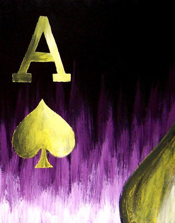 Purple Aces Poker Art4of4 Painting by Teo Alfonso