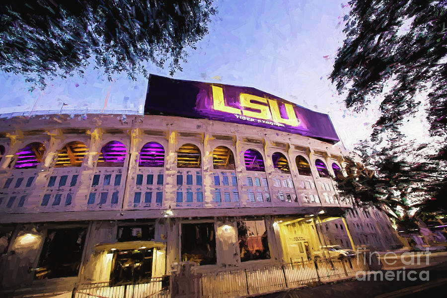 Lsu Photograph - Purple And Gold - Digital Painting by Scott Pellegrin