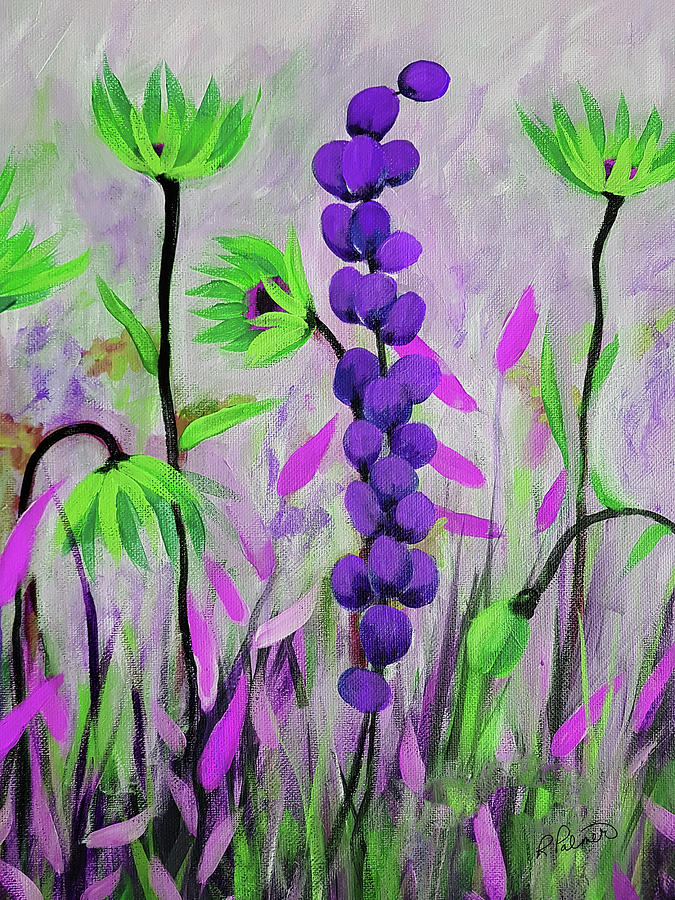 Acrylic Painting - Purple And Green Flowers by Ruth Palmer