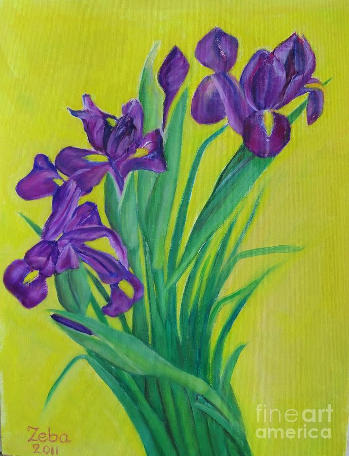 Flowers Painting - Purple And Green by Ziba Bastani