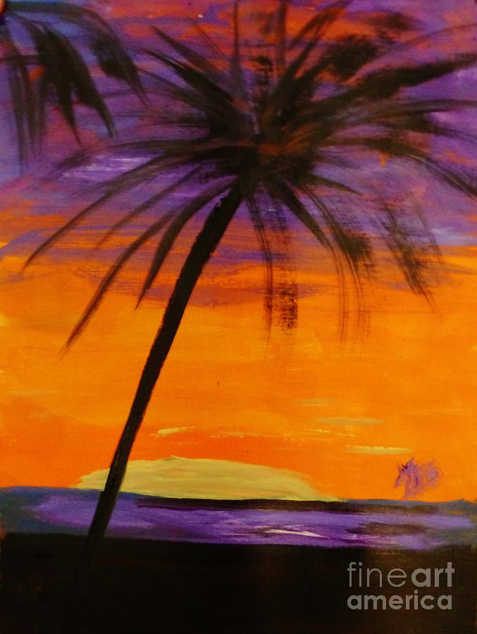 Purple And Orange Sky Painting by Marie Bulger