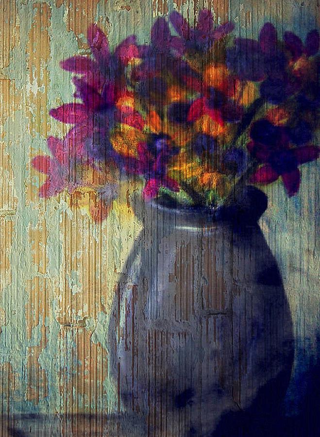 Purple and yellow flowers Mixed Media by Joseph Ferguson