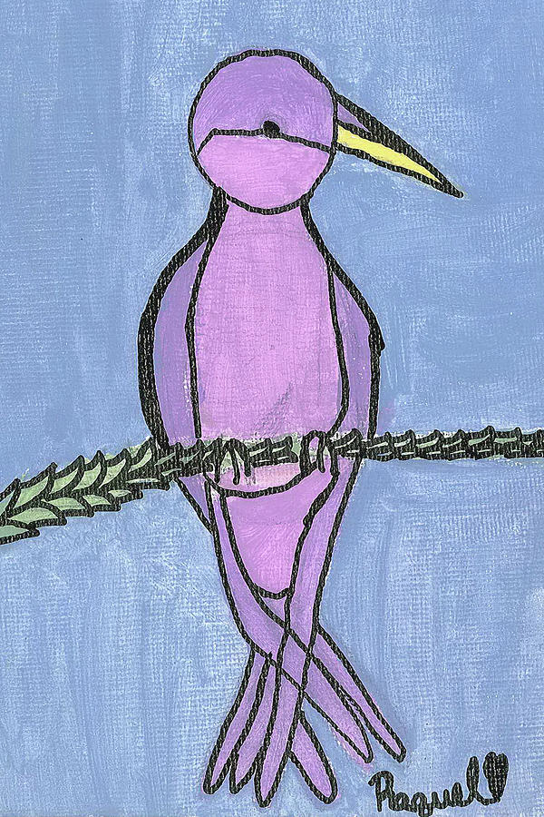 Purple Bird Perched Painting by Fred Hanna