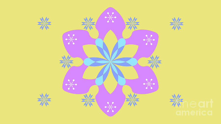 Blue Abstract Digital Art - Purple, Blue And Yellow Abstract Star by Drawspots Illustrations