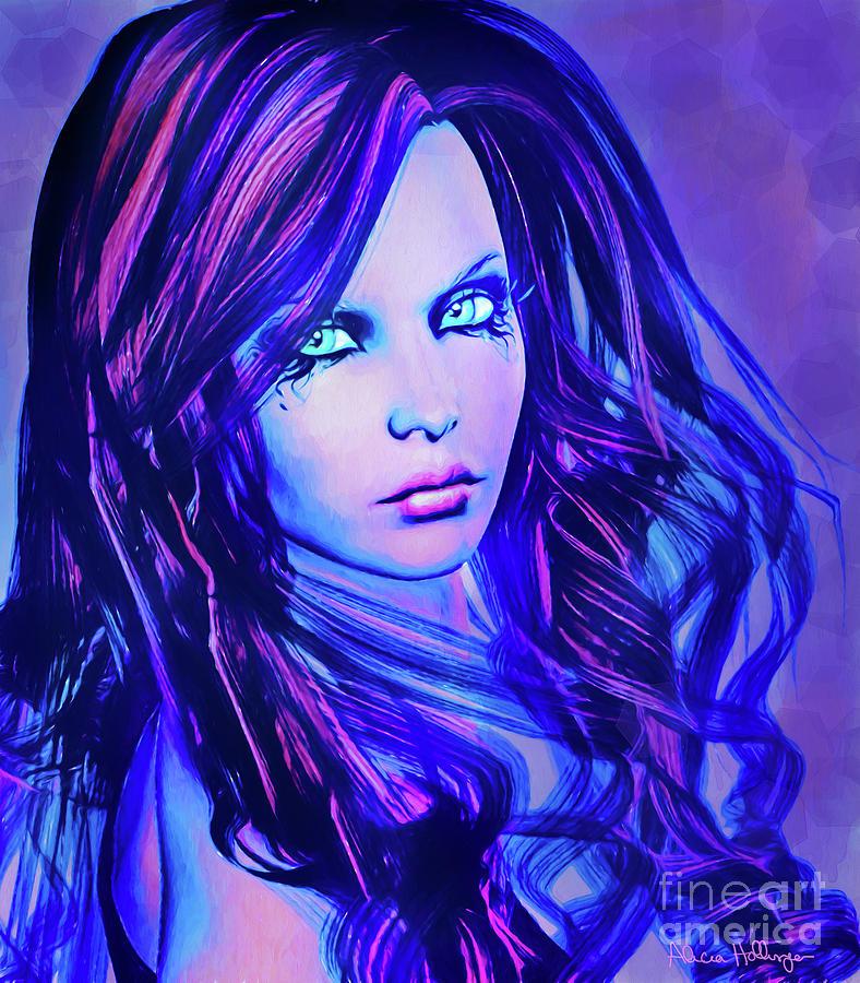 Purple Blue Portrait by Alicia Hollinger