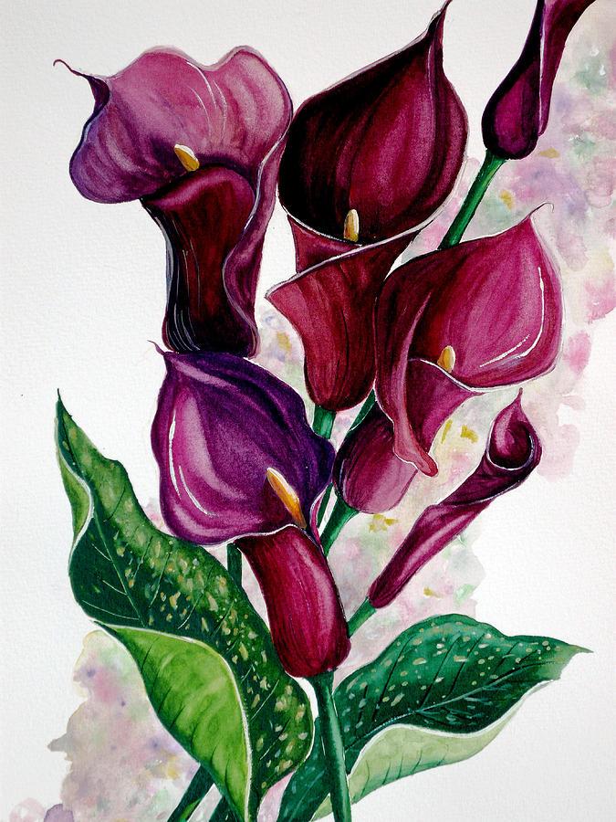 Purple Callas Painting by Karin  Dawn Kelshall- Best