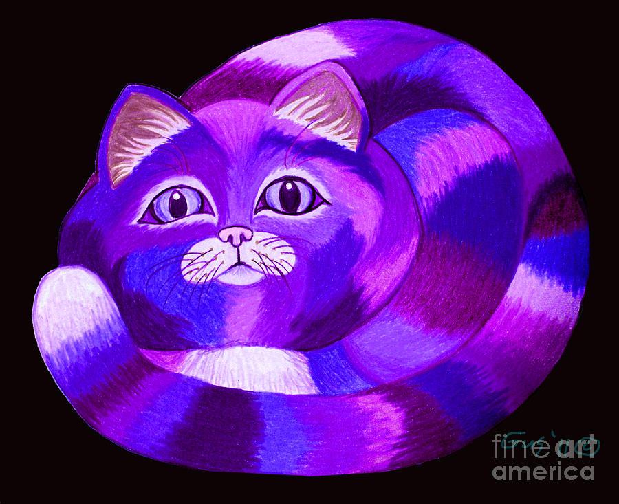 Purple Cat Drawing