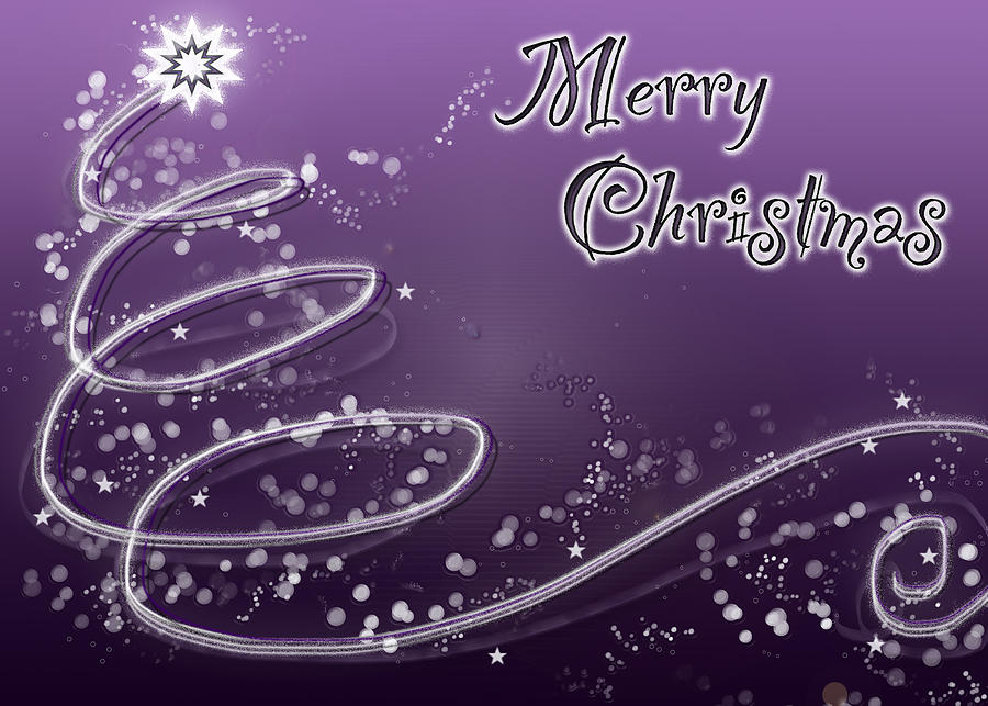 Merry Christmas Digital Art - Purple Christmas Card by Lisa Knechtel