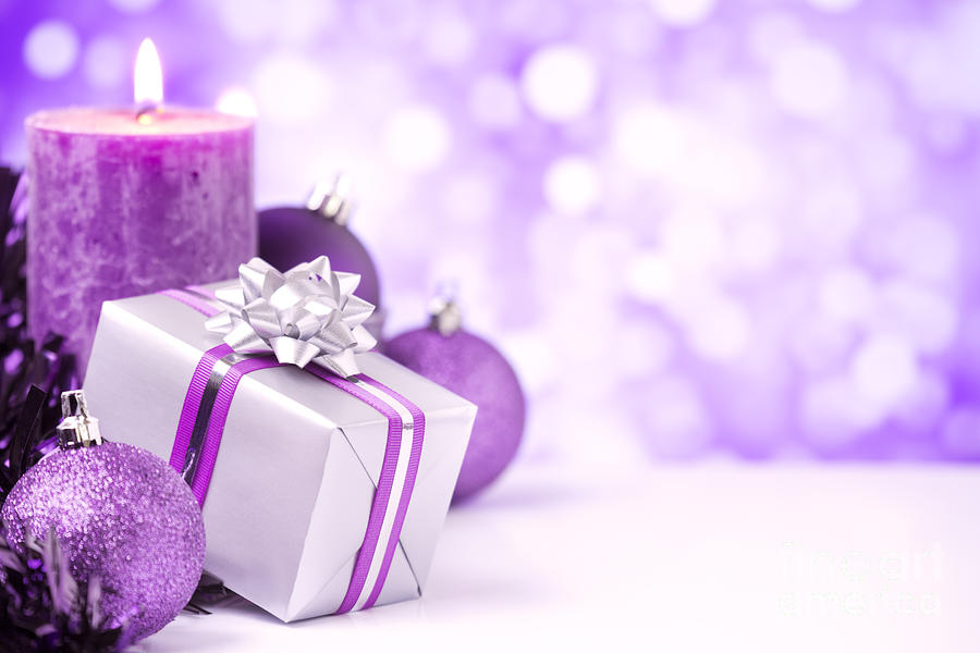 baubles photograph purple christmas scene with christmas decorations by sara winter