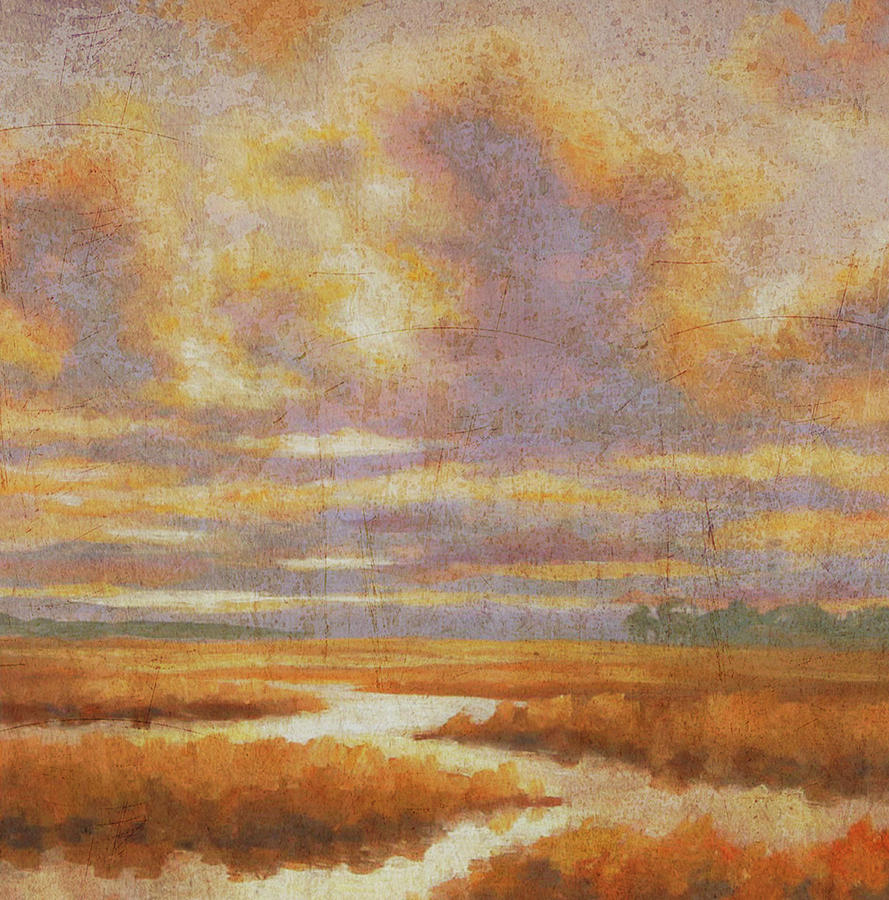 Marsh Painting - Purple Clouds On Marsh by Guy Crittenden