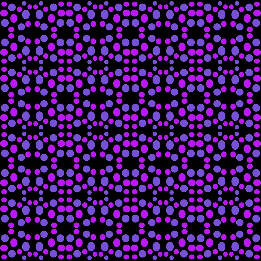 Purple Digital Art - Purple Dots Pattern On Black by BrightVibesDesign