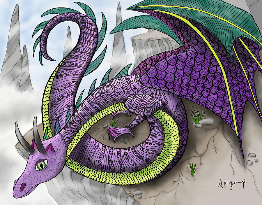 Dragon Painting - Purple Dragon by Aimee N Youngs