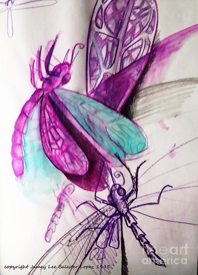 Dragonfly Drawing Drawing - Purple Dragonflies by Jamey Balester