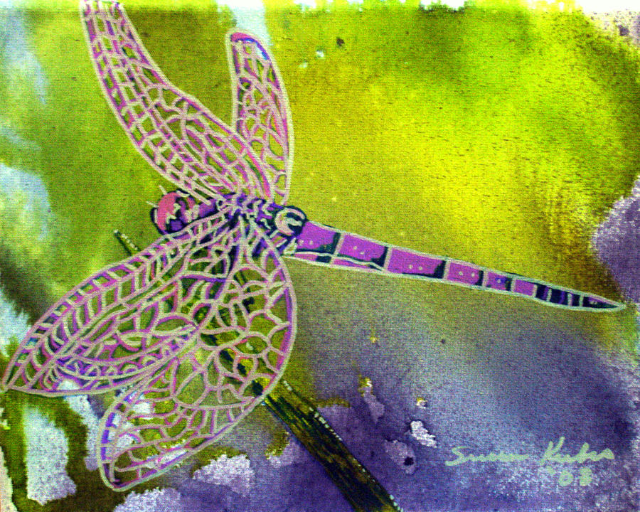 Dragonfly Painting - Purple Dragonfly by Susan Kubes