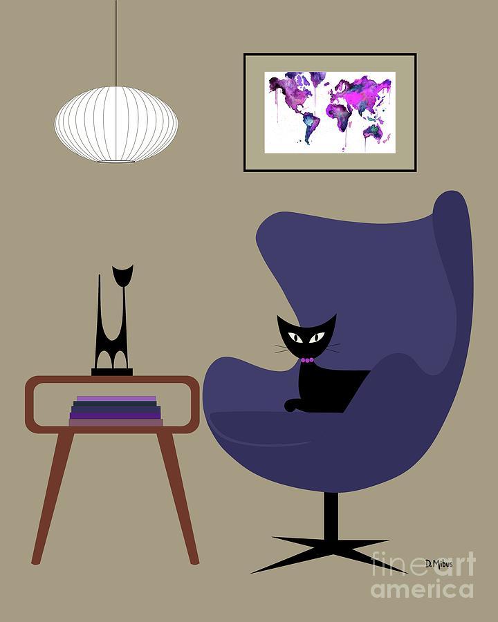 Beau Mid Century Modern Digital Art   Purple Egg Chair By Donna Mibus