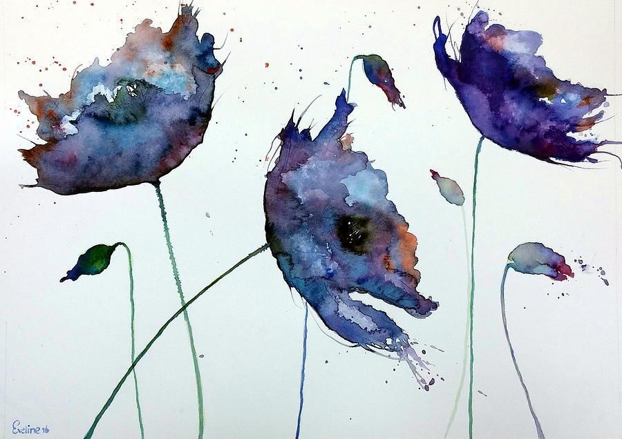 Poppie Painting - Purple Explosion by Eveline Van Dooren