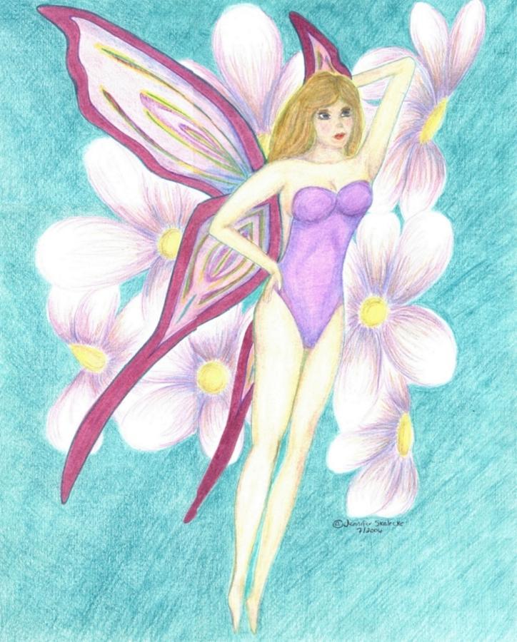 Purple Drawing - Purple Fairy - Www.jennifer-d-art.com by Jennifer Skalecke