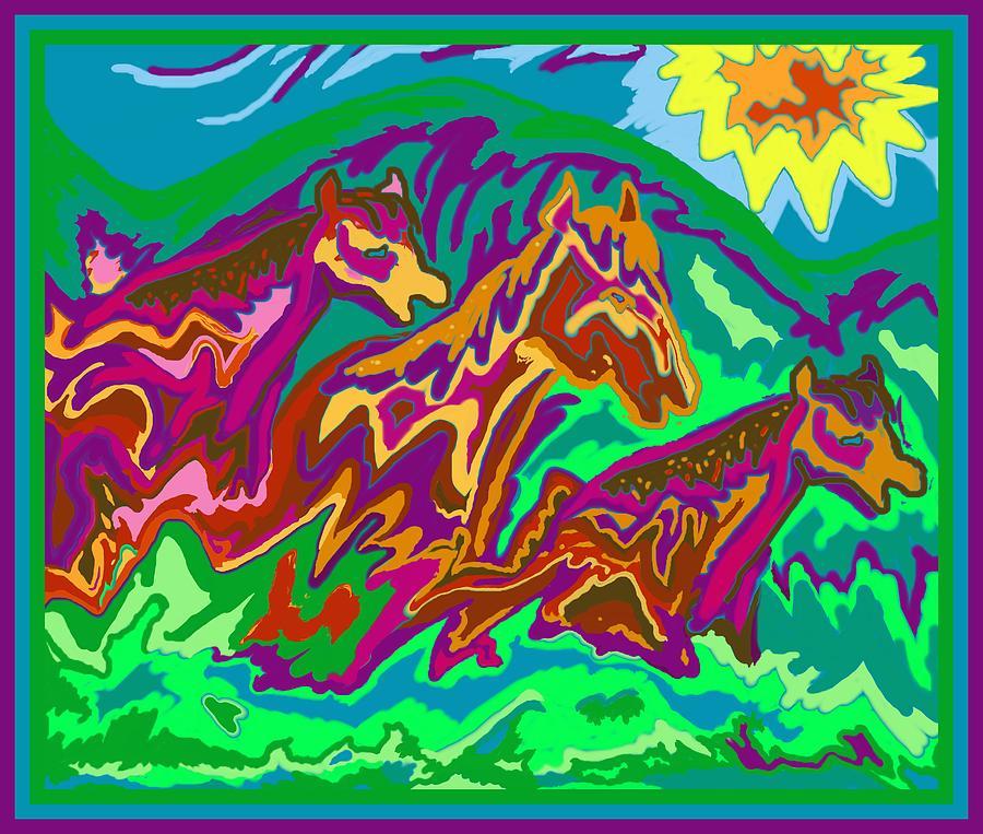 Purple Digital Art - Purple Feathered Horses by Julia Woodman