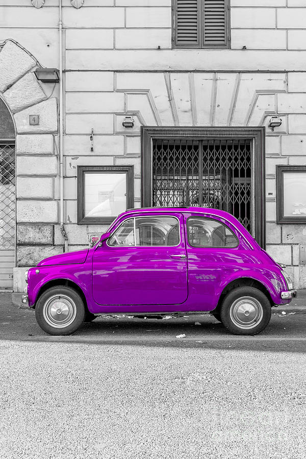 Purple Fiat 500 Rome Italy Photograph