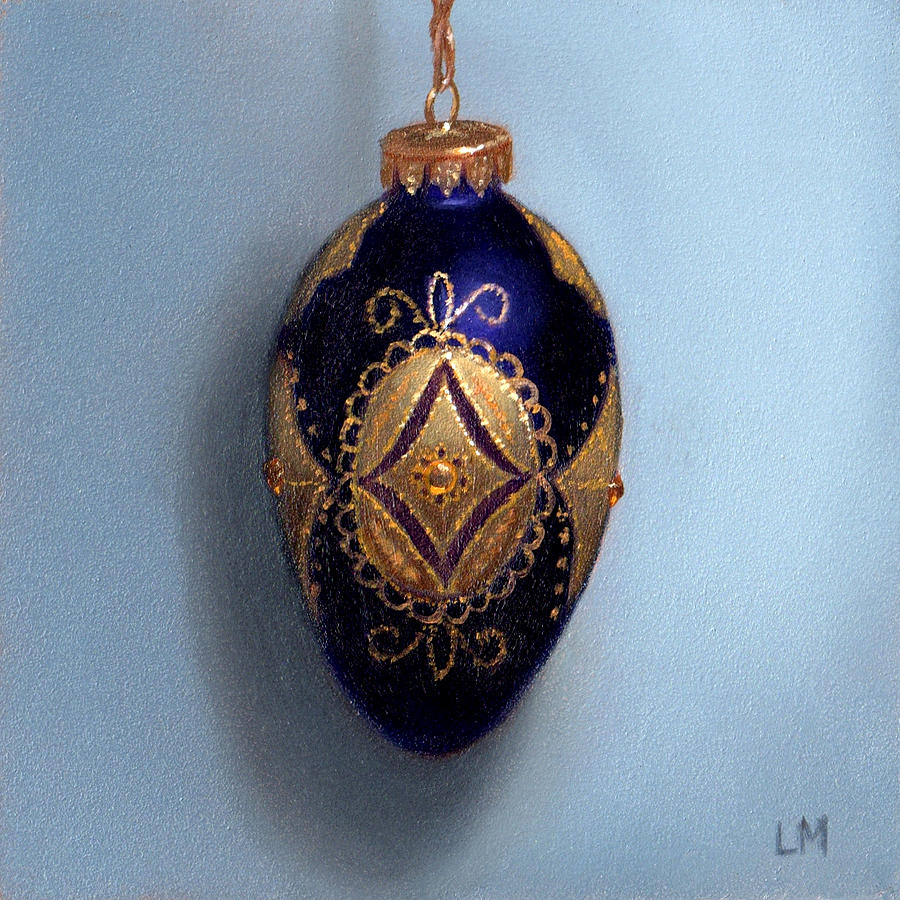 Oil Painting - Purple Filigree Egg Ornament by Linda Merchant
