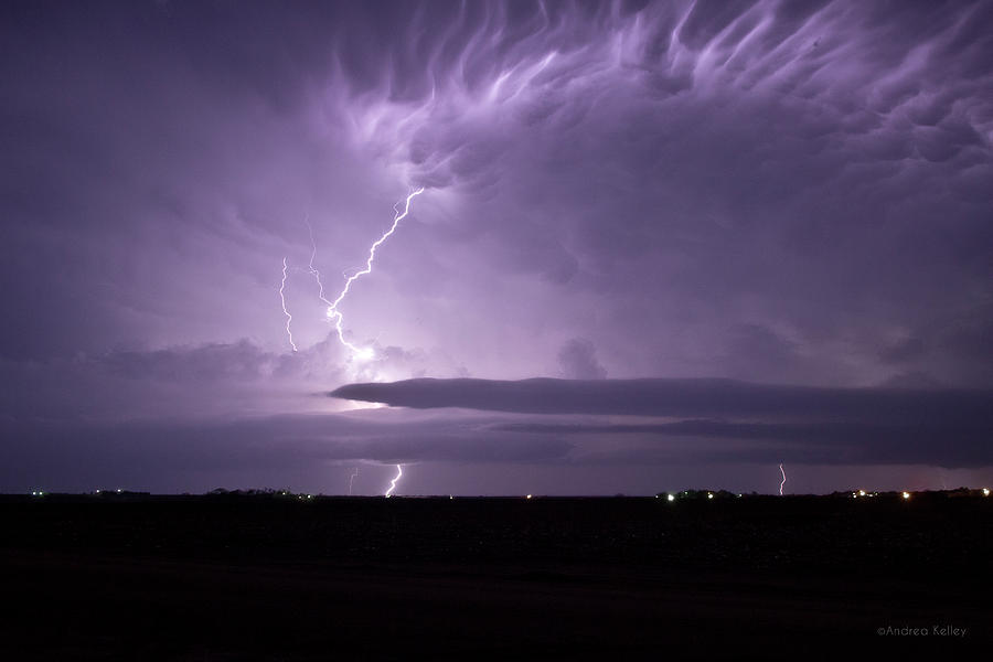 Lightning Photograph - Purple Flames - Lightning On The Great Plains by Andrea Kelley