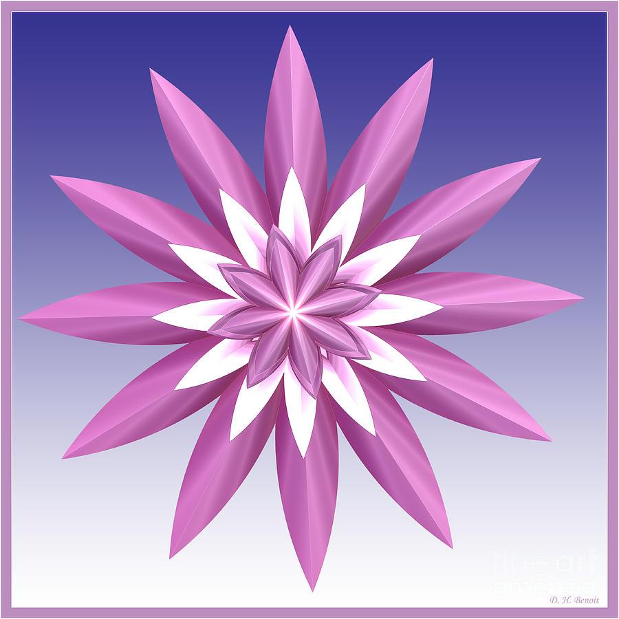 Fractal Digital Art - Purple Flower by Deborah Benoit