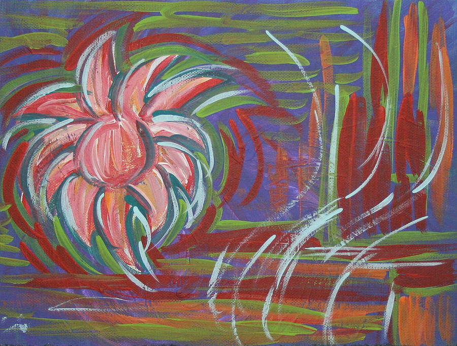 Abstract Painting - Purple Flower by Jessica Kauffman