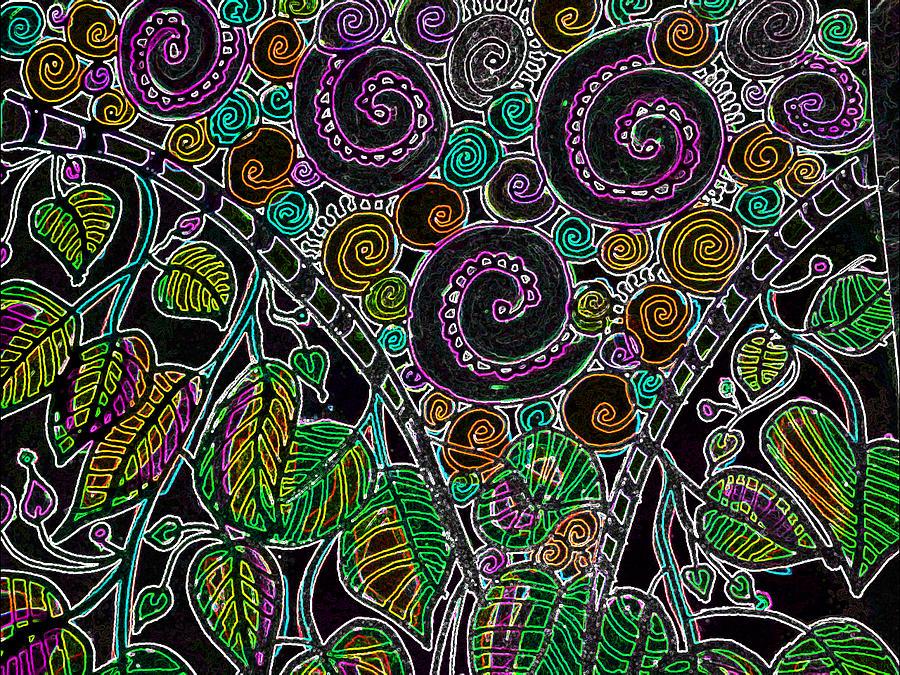 Purple Garden Drawing by Jan Pellizzer