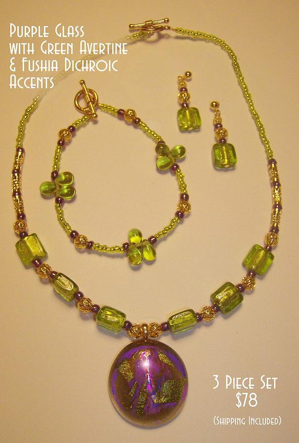 Jewlery Glass Art - Purple Glass With Green Avertine And Fushia Dichroic Glass Accents by Michelle Lake